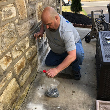 Once we have completed concrete treatment, our techs use concrete and plugs to mask the holes.