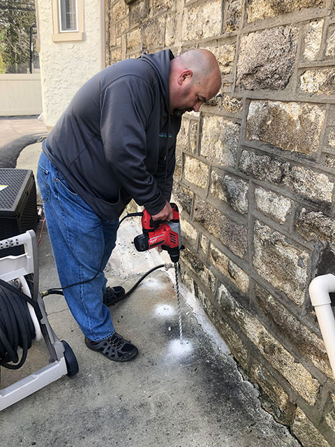 If there is concrete along your home, we drill tiny holes every foot or so.
